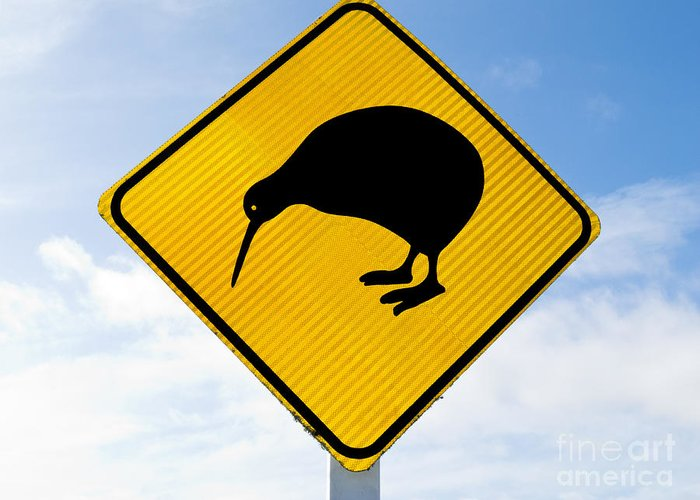 Animal Greeting Card featuring the photograph Attention Kiwi Crossing Road Sign by Stephan Pietzko