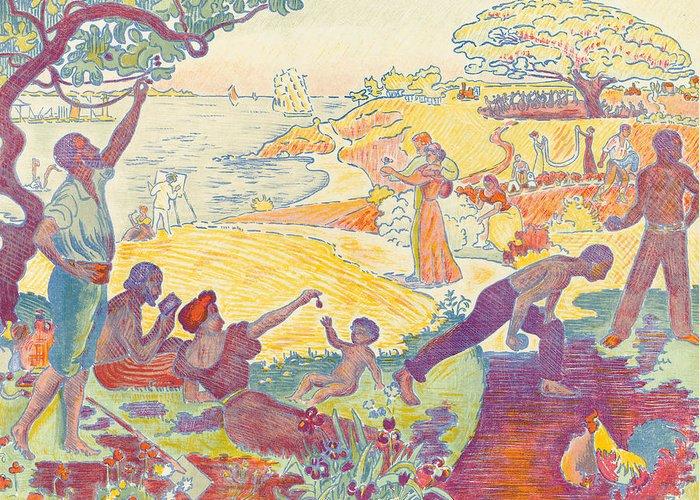 Au Temps D'harmonie Greeting Card featuring the painting Au Temps Dharmonie by Paul Signac