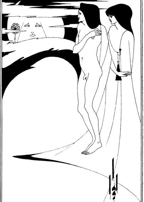 Aubrey Beardsley Greeting Card featuring the drawing Aubrey Beardsley Woman In The Moon by