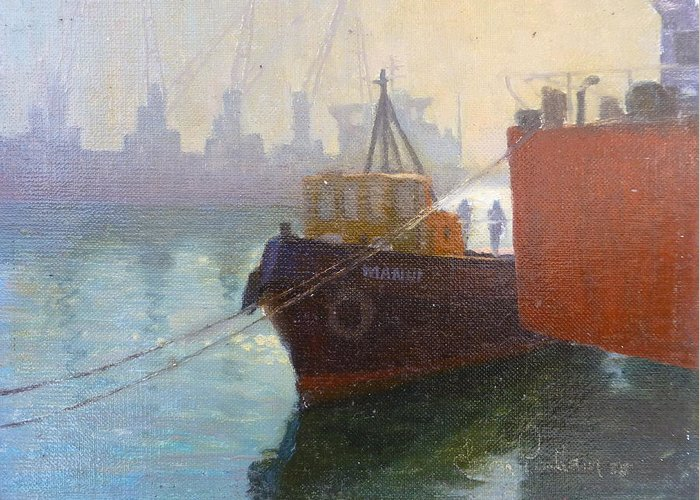 Ports Greeting Card featuring the painting Auckland Morning by Terry Perham