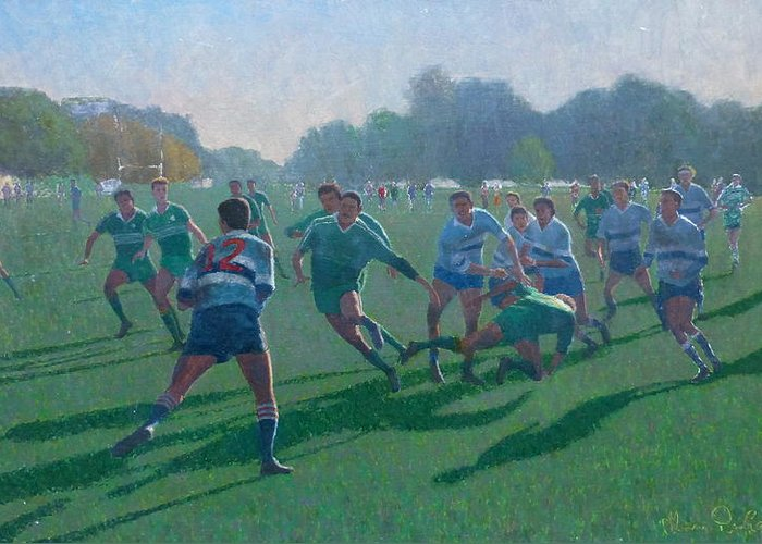 Sports Greeting Card featuring the painting Auckland Rugby by Terry Perham