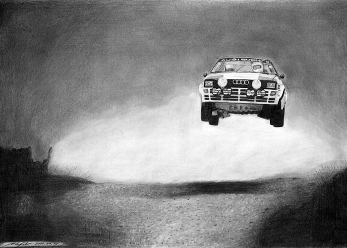 Audi Quattro Greeting Card featuring the drawing Audi Quattro Flying by Gabor Vida