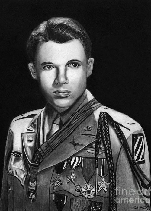 Audie Murphy Greeting Card featuring the drawing Audie Murphy by Peter Piatt