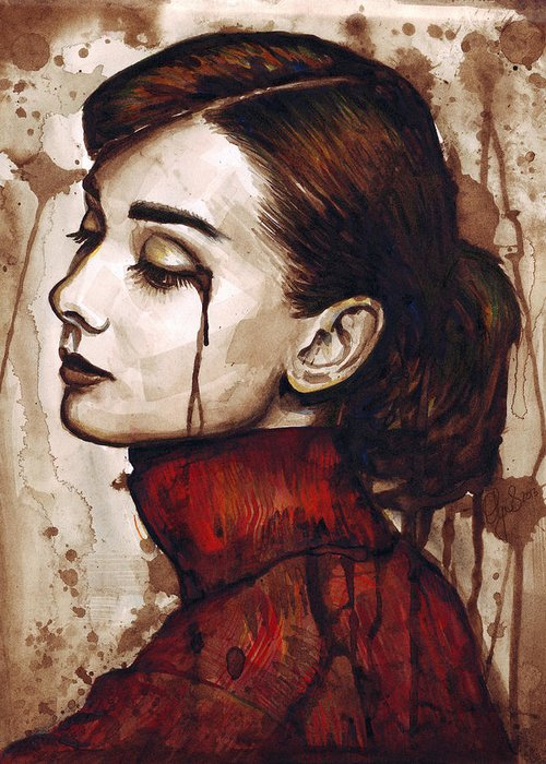 Audrey Hepburn Greeting Card featuring the painting Audrey Hepburn - Quiet Sadness by Olga Shvartsur