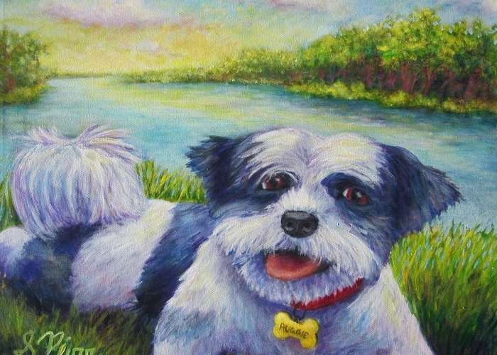 Greeting Card featuring the painting Auggie by Sebastian Pierre
