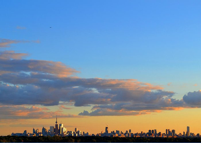 Abstract Greeting Card featuring the photograph August Early Evening Toronto 4 by Lyle Crump