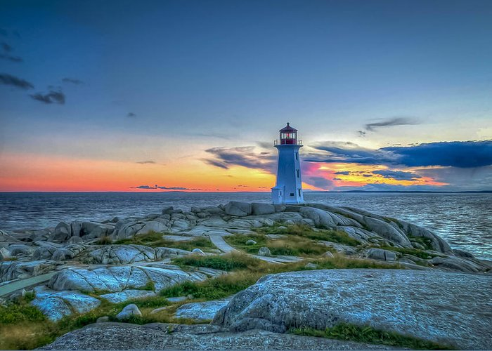 Peggys Cove Greeting Card featuring the photograph August Sunset At Peggy's Cove 2 by Joe Gliozzo