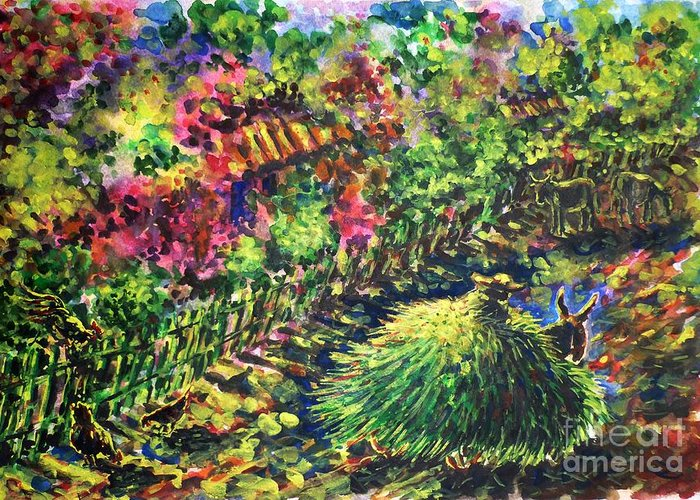 August Greeting Card featuring the painting August by Zaira Dzhaubaeva