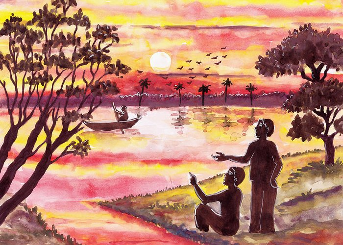 Moon Greeting Card featuring the painting Auld Lang Syne by Priyanka Paul