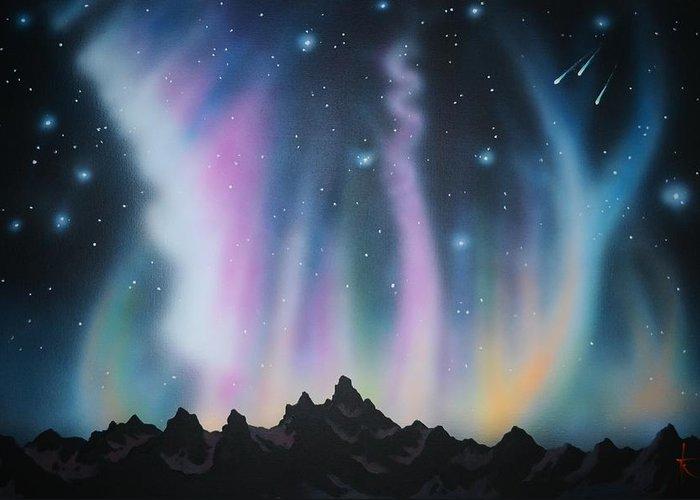 Aurora Borealis Greeting Card featuring the painting Aurora Borealis in the Rockies by Thomas Kolendra