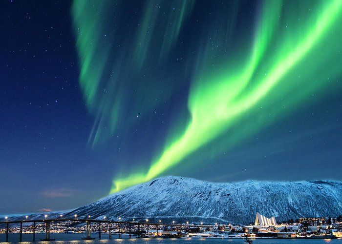 Scenics Greeting Card featuring the photograph Aurora Borealis Over Tromso Port by Mike Hill