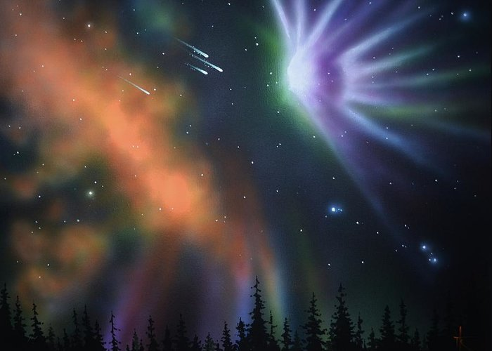 Aurora Borealis Greeting Card featuring the painting Aurora Borealis with 4 shooting stars by Thomas Kolendra