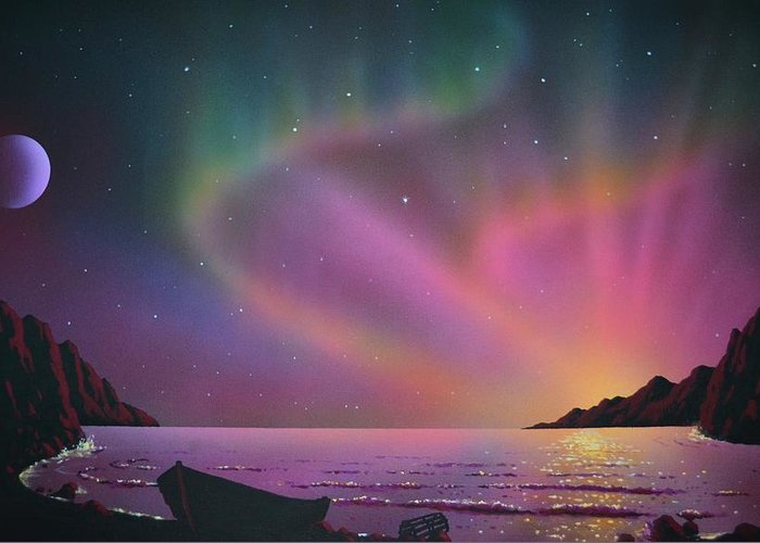 Aurora Borealis Greeting Card featuring the painting Aurora Borealis with lobster cage by Thomas Kolendra