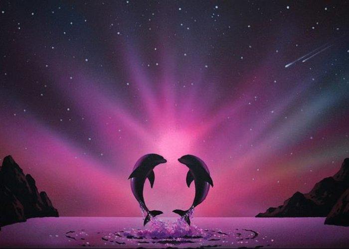 Aurora Borealis Greeting Card featuring the painting Aurora Borealis with two Dolphins by Thomas Kolendra