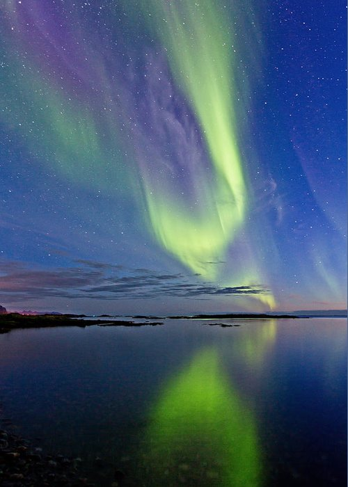 Frank Olsen Greeting Card featuring the photograph Aurora In Green And Violet by Frank Olsen