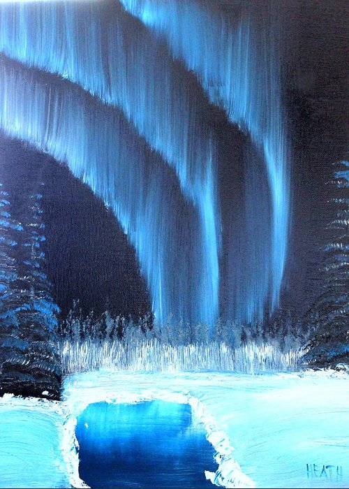 Landscape Greeting Card featuring the painting Aurora On The Pond by Ryan Heath