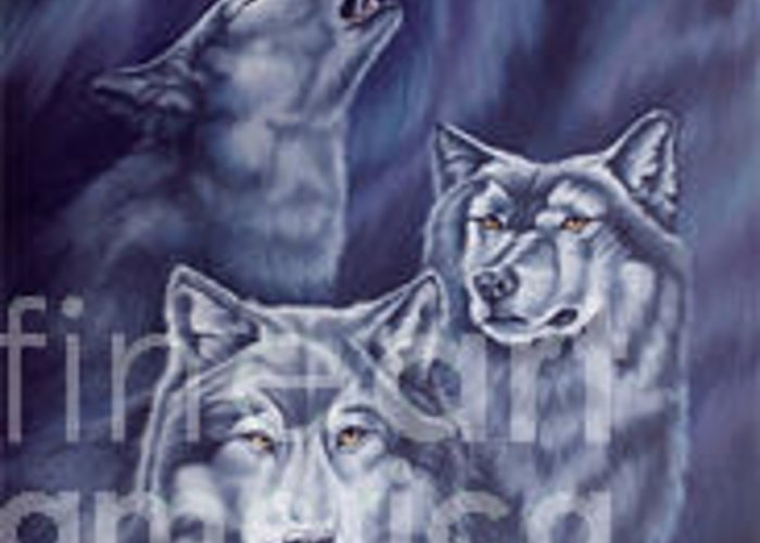 Wolf Greeting Card featuring the painting Aurora Wolves by Wendy Froshay