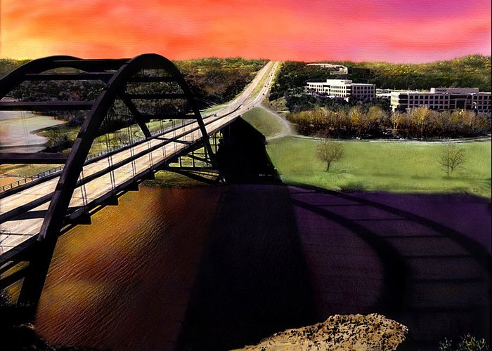 Austin Greeting Card featuring the photograph Austin 360 Bridge by Marilyn Hunt