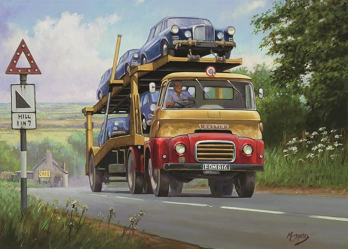 commission A Painting Greeting Card featuring the painting Austin Carrimore Transporter by Mike Jeffries