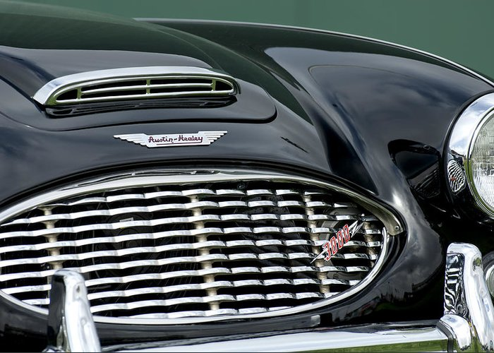Austin-healey 3000 Greeting Card featuring the photograph Austin-healey 3000 Grille Emblem by Jill Reger