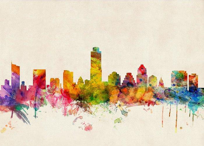 Watercolour Greeting Card featuring the digital art Austin Texas Skyline by Michael Tompsett