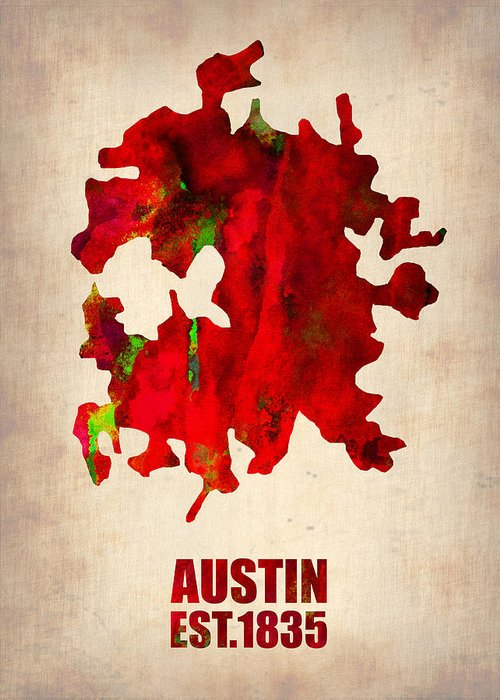 Austin Greeting Card featuring the painting Austin Watercolor Map by Naxart Studio