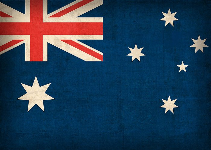 Australia Flag Vintage Distressed Finish Outback Australian Sydney Brisbane Pacific Continent Country Nation Australian Greeting Card featuring the mixed media Australia Flag Vintage Distressed Finish by Design Turnpike