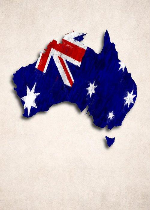 Australia Map Art.Australia Map Art With Flag Design Greeting Card