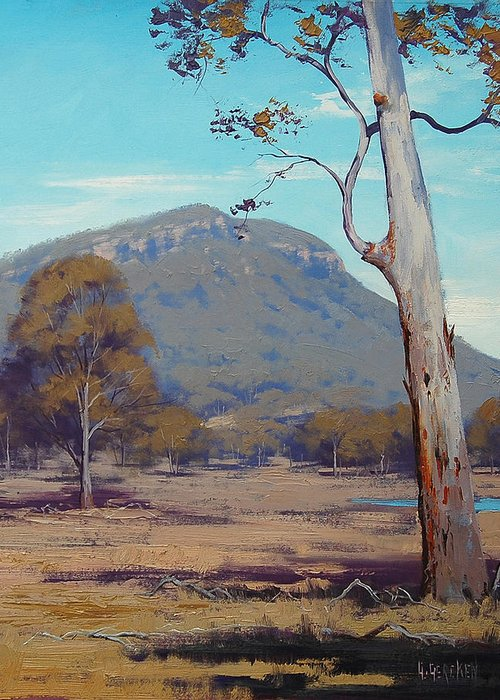Central Tablelands Greeting Card featuring the painting Australian Summer Landscape by Graham Gercken