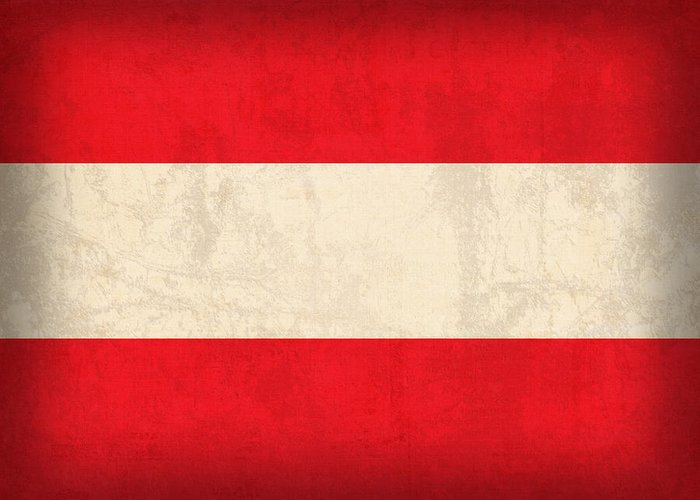 Austria Flag Vintage Distressed Finish Vienna Europe Nation Country Greeting Card featuring the mixed media Austria Flag Vintage Distressed Finish by Design Turnpike