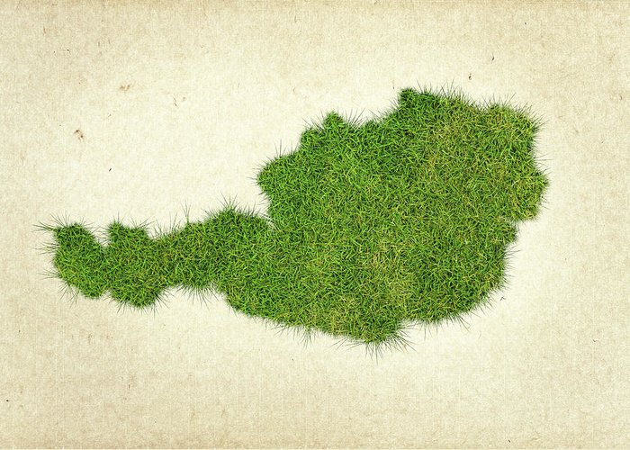 Map Of Austria Greeting Card featuring the photograph Austria Grass Map by Aged Pixel