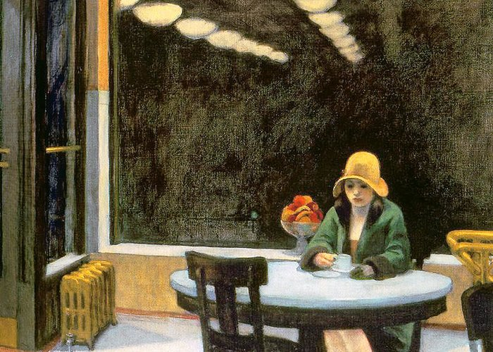 Female Greeting Card featuring the painting Automat by Edward Hopper