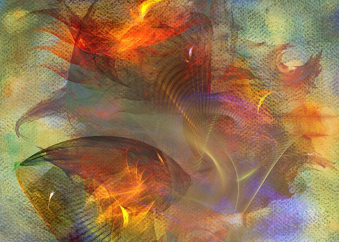 Autumn Greeting Card featuring the digital art Autumn Ablaze - Square Version by John Beck
