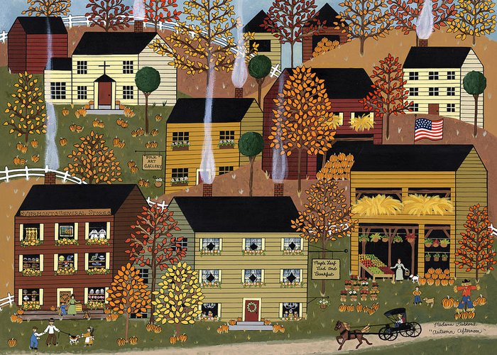 Folk Art Greeting Card featuring the painting Autumn Afternoon by Medana Gabbard