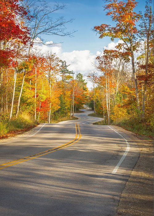 Door County Winding Road Greeting Card featuring the photograph Autumn Afternoon On The Winding Road by Ever-Curious Photography