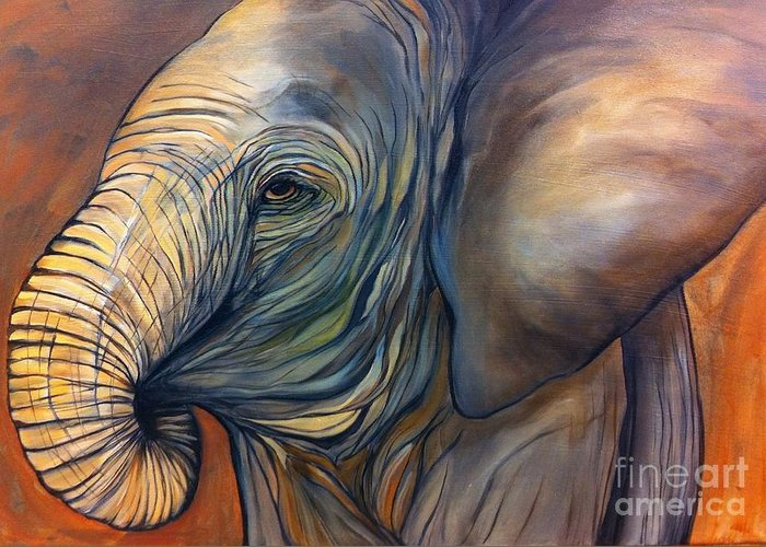 Elephant Greeting Card featuring the painting Autumn by Aimee Vance