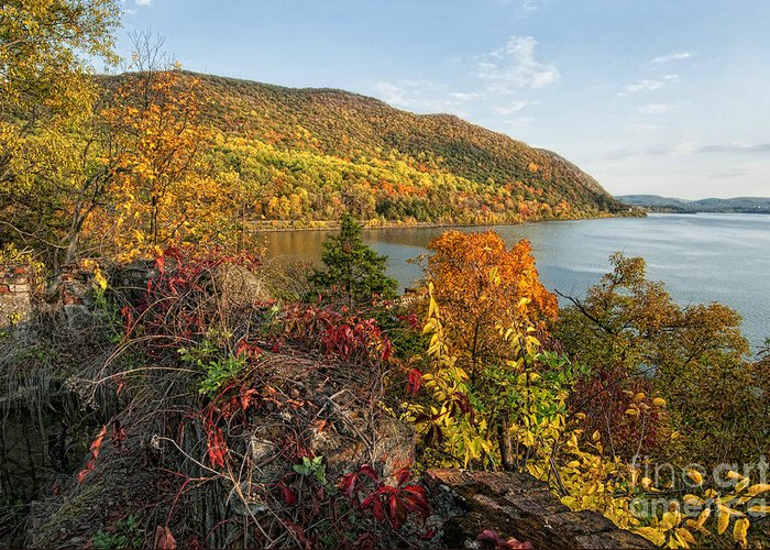 Fall Greeting Card featuring the photograph Autumn Along The Hudson by Claudia Kuhn
