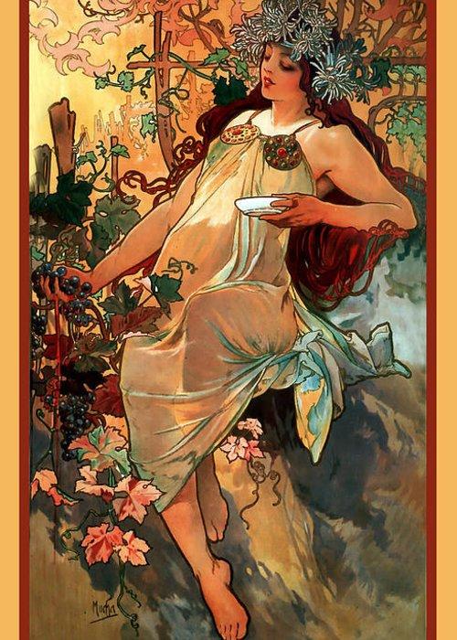 Alphonse Maria Mucha Greeting Card featuring the digital art Autumn by Alphonse Maria Mucha
