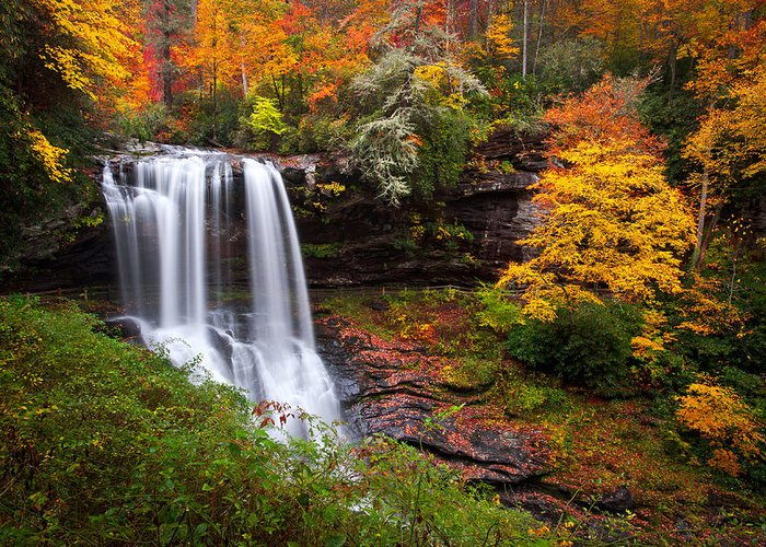 Waterfalls Greeting Card featuring the photograph Autumn At Dry Falls - Highlands Nc Waterfalls by Dave Allen