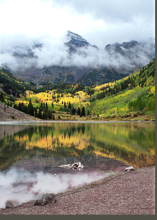 Aspen Greeting Card featuring the photograph Autumn At Maroon Bells In Colorado by Julie Magers Soulen