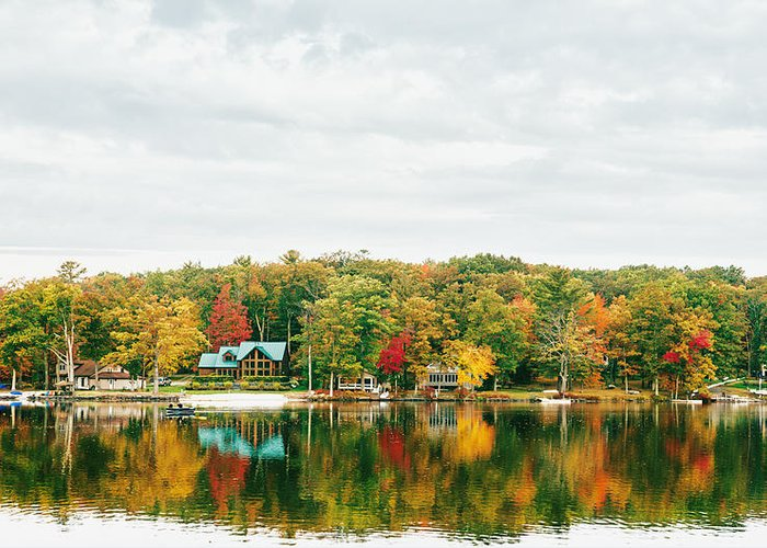 Nyc Greeting Card featuring the photograph Autumn At The Lake - Pocono Mountains by Vivienne Gucwa
