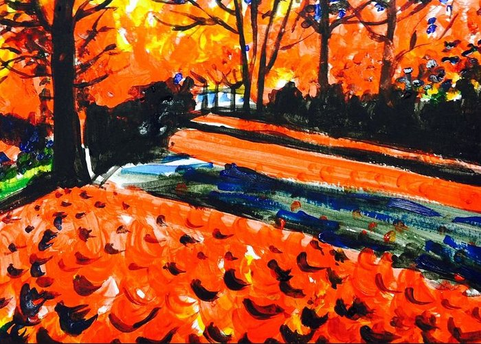 Greeting Card featuring the painting Autumn At The Park. by Hae Kim