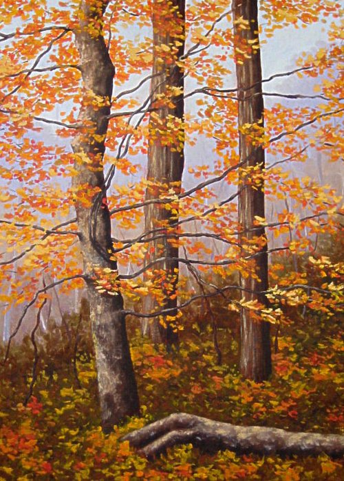 Autumn Greeting Card featuring the painting Autumn At Tishomingo State Park by Darla Brock