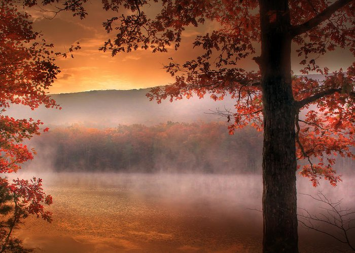 Landscape Greeting Card featuring the photograph Autumn Atmosphere by Lori Deiter