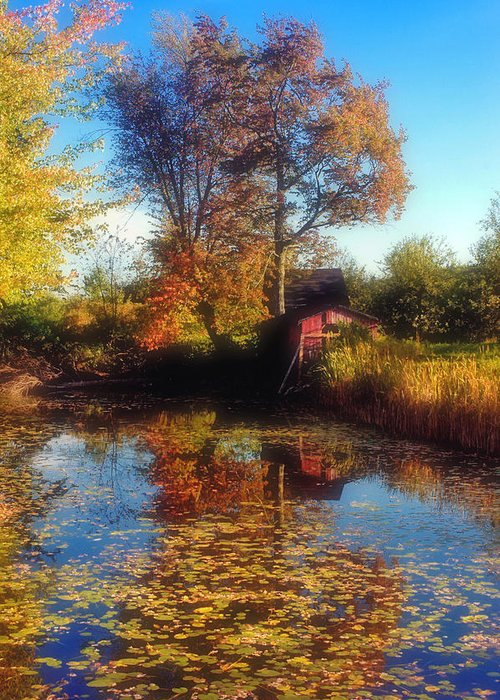Red Barn Greeting Card featuring the photograph Autumn Barn by Joann Vitali