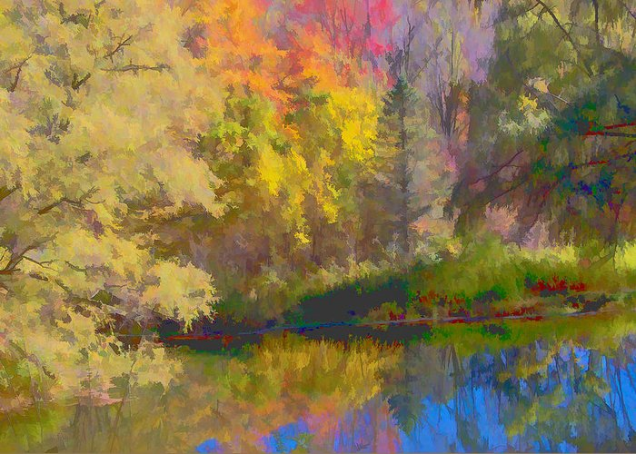 Autumn Greeting Card featuring the photograph Autumn Beside The Pond by Don Schwartz