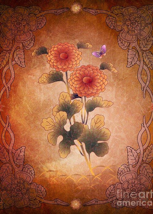 Autumn Greeting Card featuring the digital art Autumn Blooming Mum by Bedros Awak