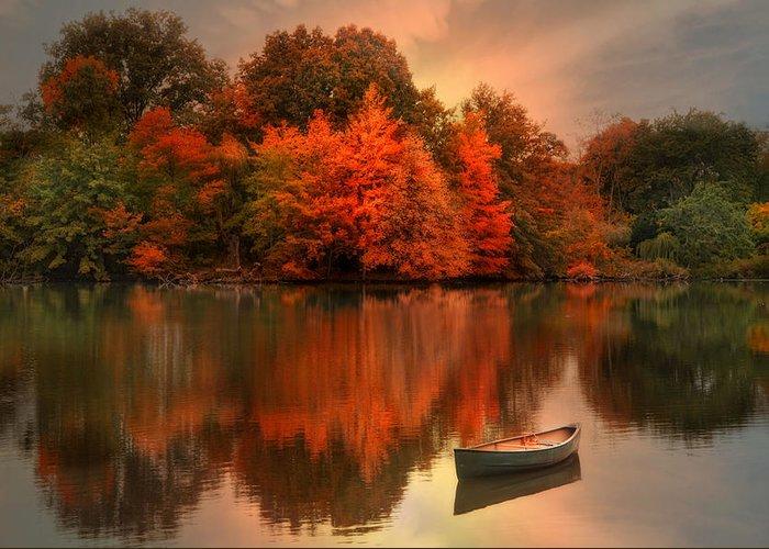 Canoe Greeting Card featuring the photograph Autumn Canoe by Robin-Lee Vieira