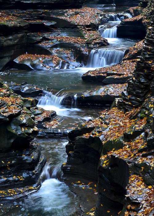 Autumn Greeting Card featuring the photograph Autumn Cascade by Frozen in Time Fine Art Photography