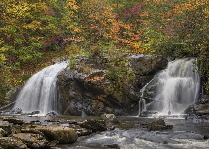 Appalachia Greeting Card featuring the photograph Autumn Cascades by Debra and Dave Vanderlaan